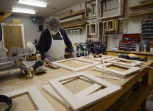 Peter making maple frames