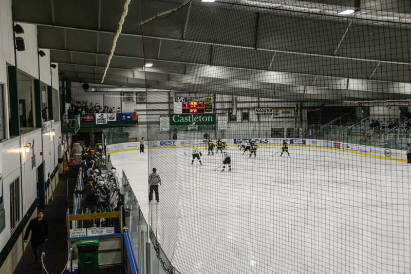 Inside of the Spartan Arena Ice rink