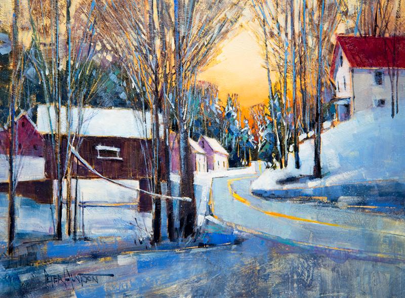 painting of Warren, Vermont by Peter Huntoon