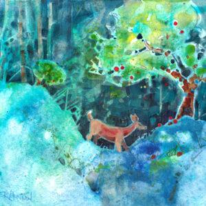painting of deer eating wild apples by peter huntoon