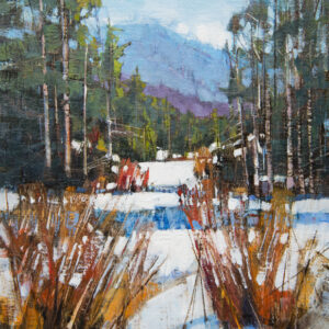 painting of wilderness clearing by Peter Huntoon