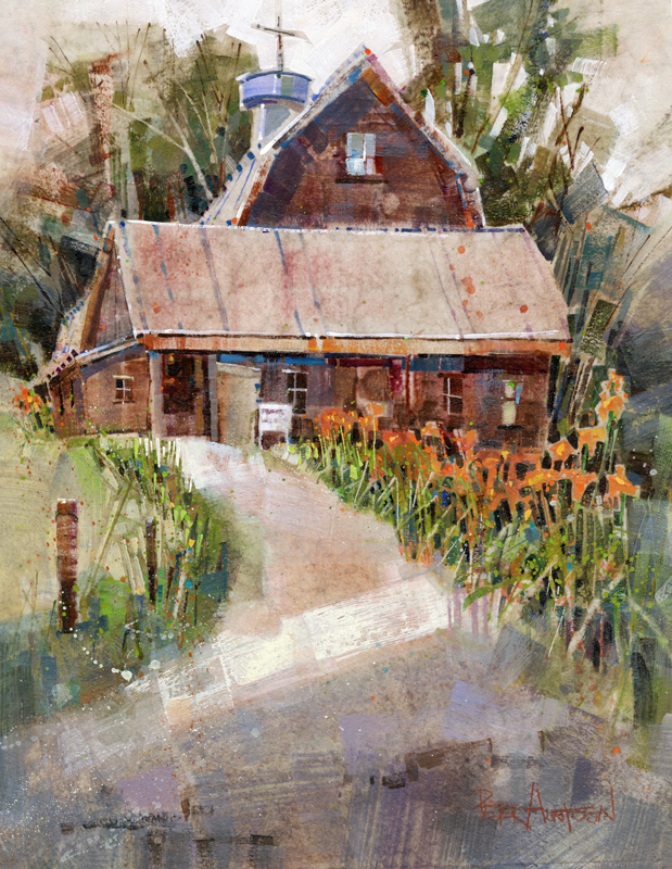 tiger lily farm painting by vermont artist peter huntoon. Black Bedroom Furniture Sets. Home Design Ideas